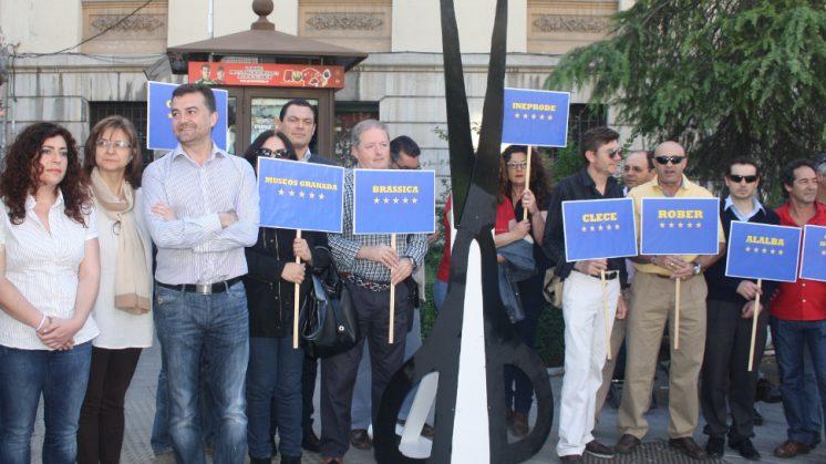 El coordinador andaluz de IU, Antonio Maíllo, ha mostrado su apoyo a a los trabajadores de Eozen. Foto: AG