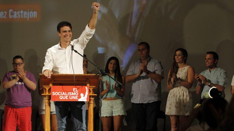 Pedro Sánchez realizó su penúltimo acto de campaña en la localidad granadina de Fuente Vaqueros. Foto: Álex Cámara.