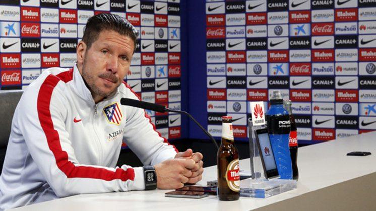 Simeone, durante la rueda de prensa ofrecida este sábado. Foto: Atlético de Madrid