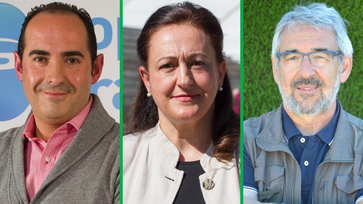 De izquierda a derecha: Fidel Prieto (PP), Ana María García (PSOE) y Antolín Granados (Ganemos). Fotos de aG y cedidas por los partidos