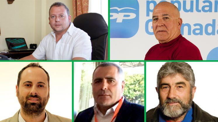 De izquierda a derecha y de arriba a abajo: Jorge Sánchez (PSOE), Salvador Alonso (PP), Juan Antonio López (IU), José Manuel Casals (Ciudadanos) y Diego Oliva (Incuve). Fotos de archivo de aG y cedidas por los partidos