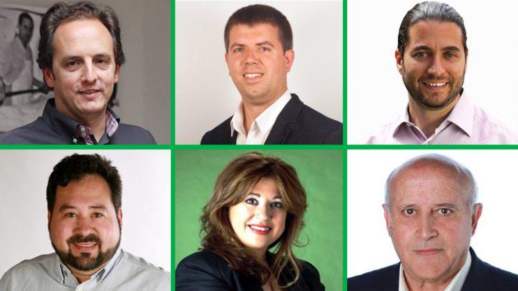 De izquierda a derecha y de arriba a abajo: Félix Rodríguez (PP), Manuel Morales (PSOE), Francisco Álvarez (IU), Javier Lucas Contreras (CdM), Elisa Roldán (PA) y Daniel Serrano (Ciudadanos). Fotos de aG, cedidas por los partidos y de sus perfiles en redes sociales.