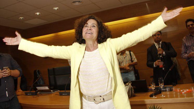 Pilar Aranda celebra el triunfo electoral conseguido este miércoles. Foto: Álex Cámara