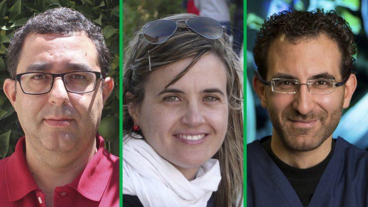 Los tres investigadores que han sido becados. Fotos: UGR
