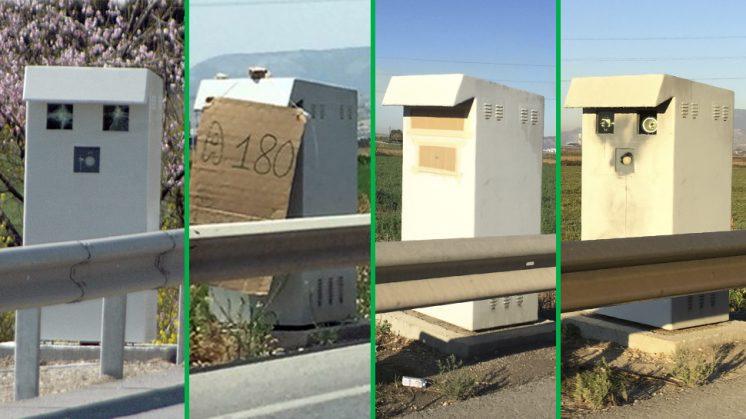 Algunos de los distintos boicots que ha sufrido este radar ubicado en Pinos Puente. Fotos: Luis F. Ruiz