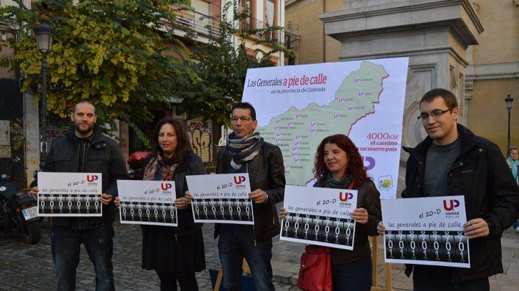 Los candidatos de UP Granada recorrerán una media de 4.000 kilómetros en la campaña