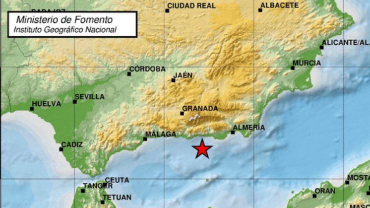Lugar exacto en el que se ha originado el terremoto. Foto: ign