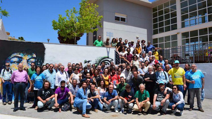 Los participantes en el encuentro se dieron cita en el edifcio La Espiral de Peligros. Foto: Organización / aG