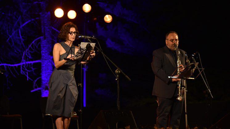 Gema Matarranz, acompañada del saxofonista Arturo Cid, protagonizaron el espectáculo. Foto: Julio Grosso (Dipgra)