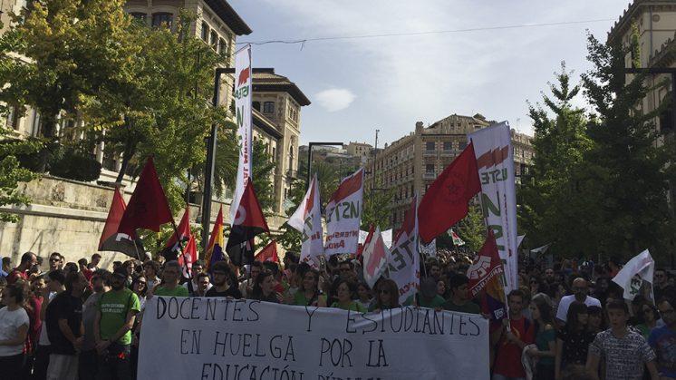 Los estudiantes que se han movilizado han realizado una parada frente a la Delegación de la Junta en Granada. Foto: N.S.L.