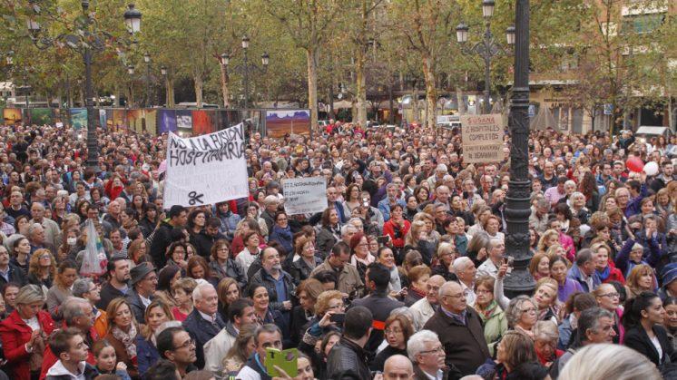 Imagen de la manifestación desarrollada este sábado por la tarde. Foto: Álex Cámara