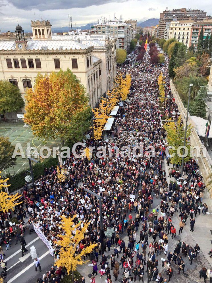 Imagen desde un ático de Gran Vía de la multitudinaria manifestación. Foto: Luis F. Ruiz