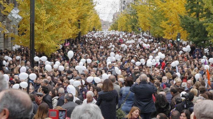 Imagen de la protesta en Gran Vía. Foto: Álex Cámara