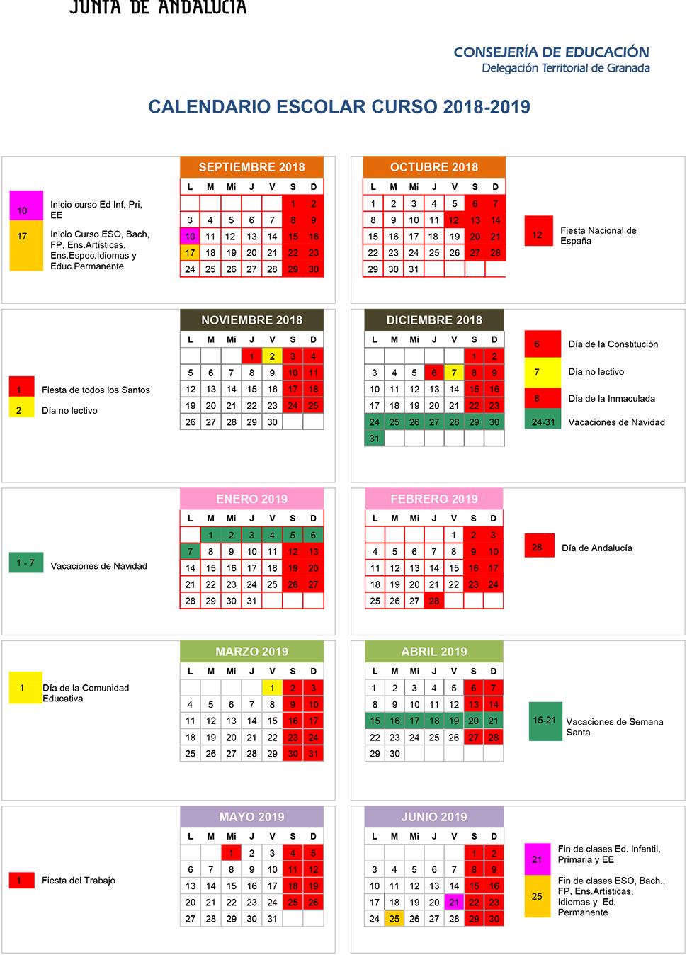 Calendario Laboral Granada 2020.Ahora Granada El Calendario Del Curso Escolar 18 19 En Granada